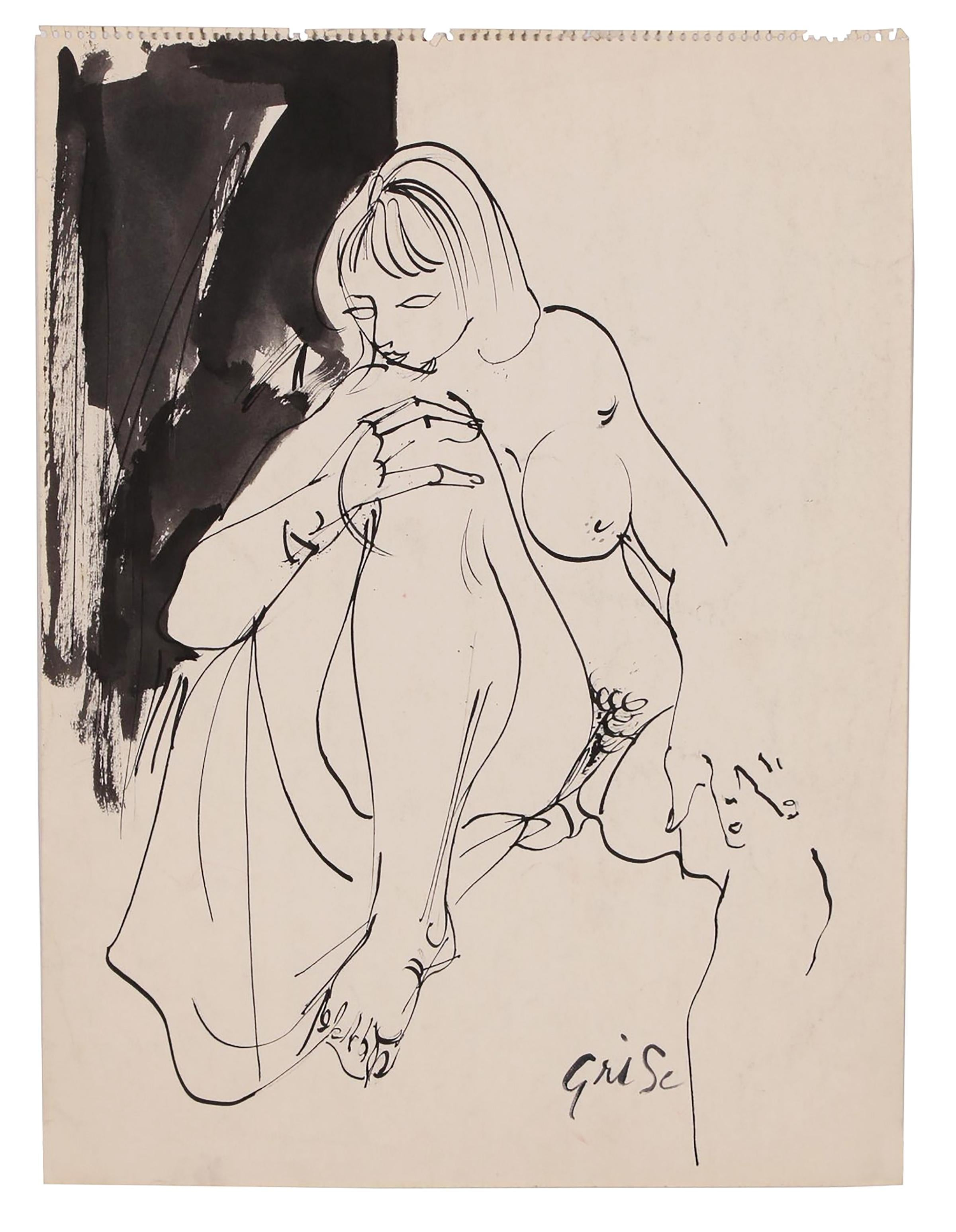 "Hendrik Grise ""Untitled"", seated nude figure - original ink wash on paper"