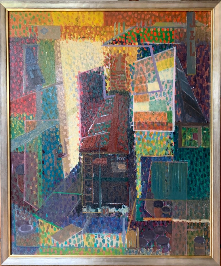 "Bennard Perlman ""Pointillistic Cityscape"", oil on board - Painting by Bennard Perlman"