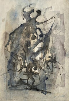 "Benoît Gilsoul ""The Cruelties of Life"", original watercolor & charcoal on paper"