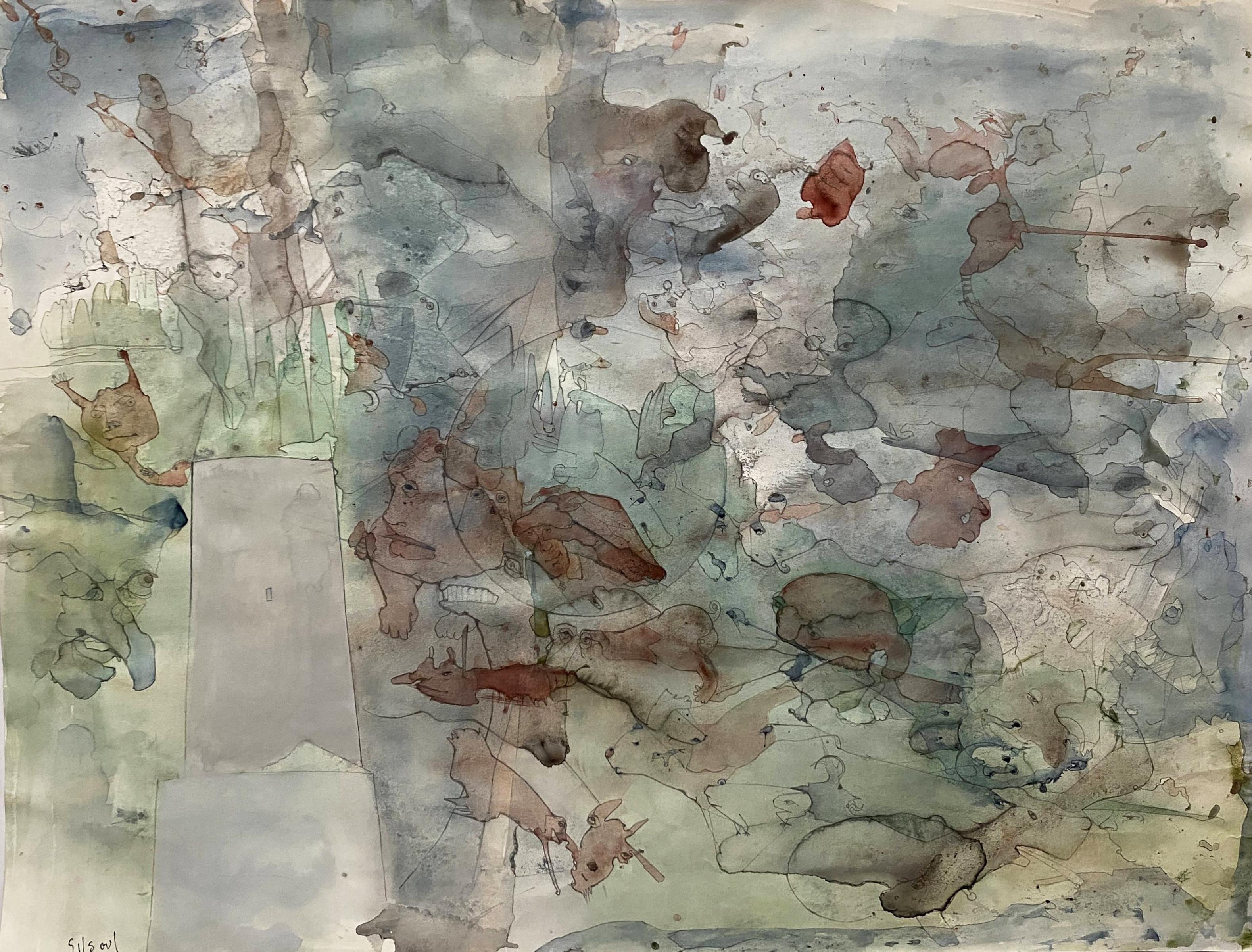 "Benoît Gilsoul ""Seabed"", original watercolor & graphite on paper"