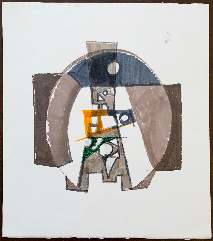 "Benoît Gilsoul, ""Untitled"" original felt pen drawing on Fabriano cotton paper"