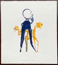 """Benoît Gilsoul, """"Silence on ..."""" felt pen drawing on Fabriano cotton paper"""