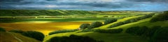 Clouds and Canola ll, Contemporary, Traditional, Prairie Landscape Painting