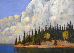 Dark Island, Modern, Summer Landscape, Acrylic Painting