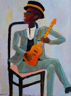 The Jazz Man 3, Playful Contemporary, Oil Painting on Board