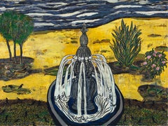 The Bird Fountain, Contemporary, Expressionistic, Landscape Painting
