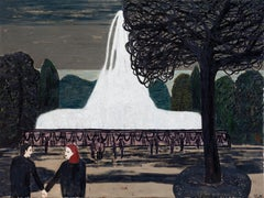 The Large Fountain, Contemporary, Expressionistic, Landscape Painting