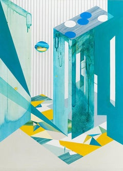 Moon Viewing Platform_City, Abstract, Geometric, Cityscape, Teal Painting