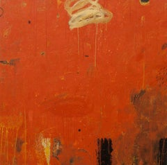Three Markers/ Solstice Morning, Contemporary, Abstract, Red, Painting
