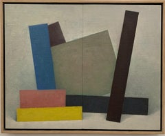 """""""Untitled Form 7 Pink, Yellow, Blue,"""" Artwork, Contemporary, Geometric"""