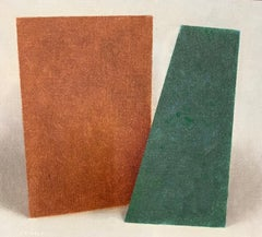 """Untitled 2 Forms (Green and Brown),"" Modern Art, Geometric Form, Still- Life"