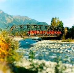 """Train On Trestle"" Contemporary, Landscape, Color Photograph"