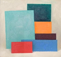 """Untitled 6 Forms (Blues, Red and Orange),"" Modern Art, Color- Blocking"
