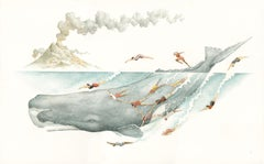 """Azores, Aquatic Club,"" Animal, Figurative, Narrative, Watercolour On Paper"