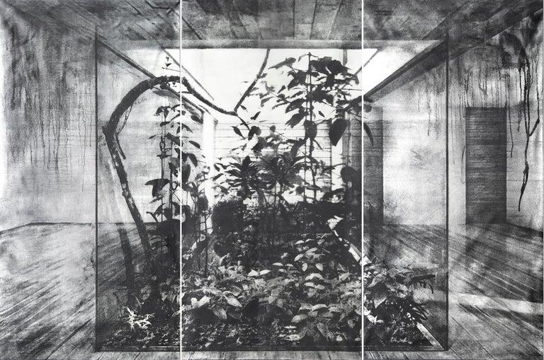 Tomás Ochoa Figurative Painting -  Crystal Cube, (Triptych)