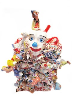 Everyone Wears A Clown Mask, contemporary, sculpture, ceramic, yellow, blue, red