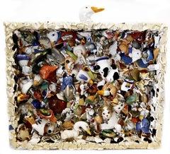 Tchotchke Tsunami, contemporary, sculpture, ceramics, blue, green, cream