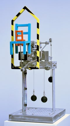 Two Chairs and a House Divided, contemporary, sculpture, blue, yellow, kinetic