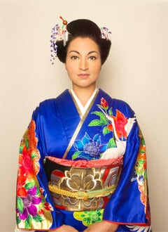 Japanese Woman, contemporary, photography, selfportraiture, blue, gold, red