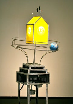 A World Around, contemporary, sculpture, kinetic, yellow, blue, metal