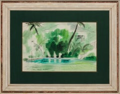 "Watercolour by Franz Bueb circa 1947 ""Palm Beach Tropical Oasis"""