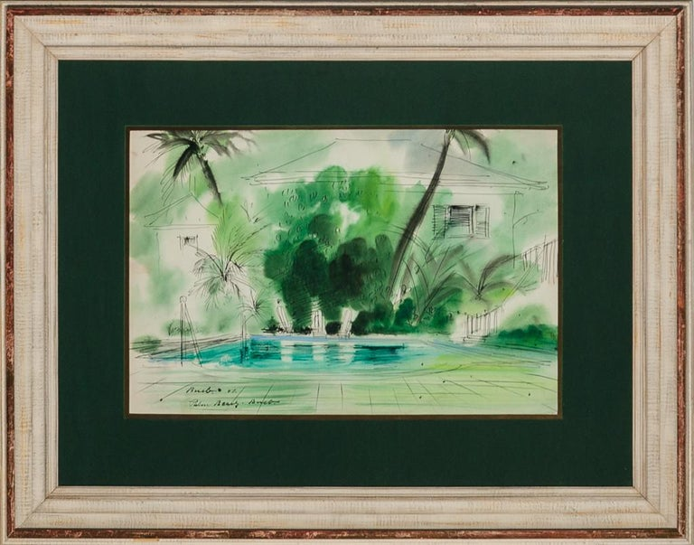 Original watercolour circa 1947 of a Palm Beach tropical pool oasis by the acclaimed German artist & architect Franz Bueb (1919-1982) who designed Town & Country magazine covers and was a friend of Mrs. Jacqueline Kennedy particularly during the