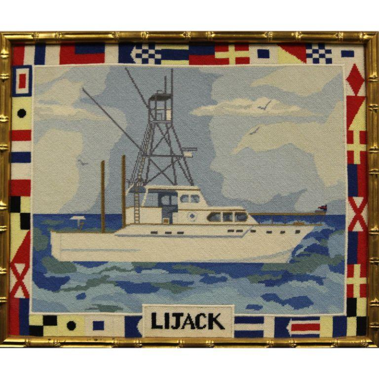 Circa 1960's Hand-Needlepoint 'Lijack' Yacht - Art by Unknown