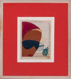 "Original Artwork circa 1950 ""Chic Sunbather with  Blue Shades"""