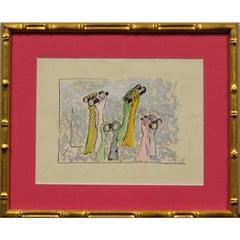 "Lanvin Paris by Alexander Warren Montel circa 1950s Gouache ""Opera Glasses"""