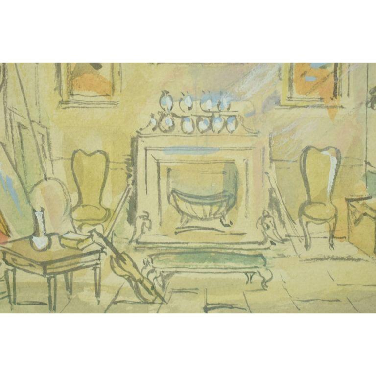 Original Cecil Beaton (signed LR) watercolour set design for the 2nd version of Beaton's play