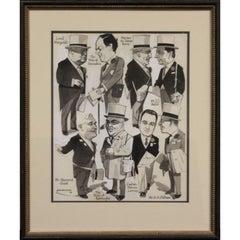 """English Turf Racing Personalities""  by ""Emmwood"" Pen & Ink Drawing circa 1960s"
