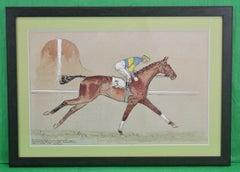 "Paul Desmond Brown Watercolour  ""Golden Miller' c1934"