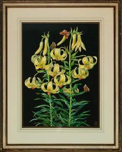 Two Orchids & Butterflies Still Life