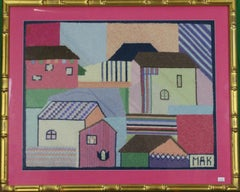 Pastel Cluster of c.1960's Needlepoint Houses