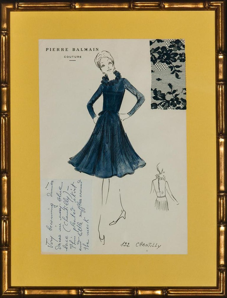 Chic original watercolour couture fashion sketch replete w/ lace fabric swatch & note attached (LL) from the Paris atelier of Pierre Balmain c1960s!  Plate: 12 1/4