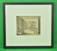 Apartment 33 Mount St Library Interior Pen & Ink circa 1805 by Edward Jones
