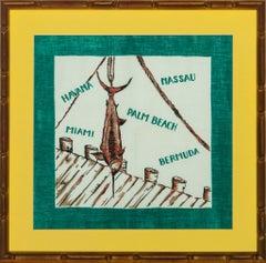 Sailfish Linen circa 1950's Scarf in Gilt Bamboo Frame
