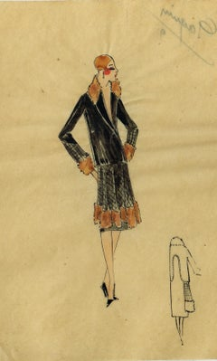 Lanvin of Paris circa 1920's Fashion Watercolour