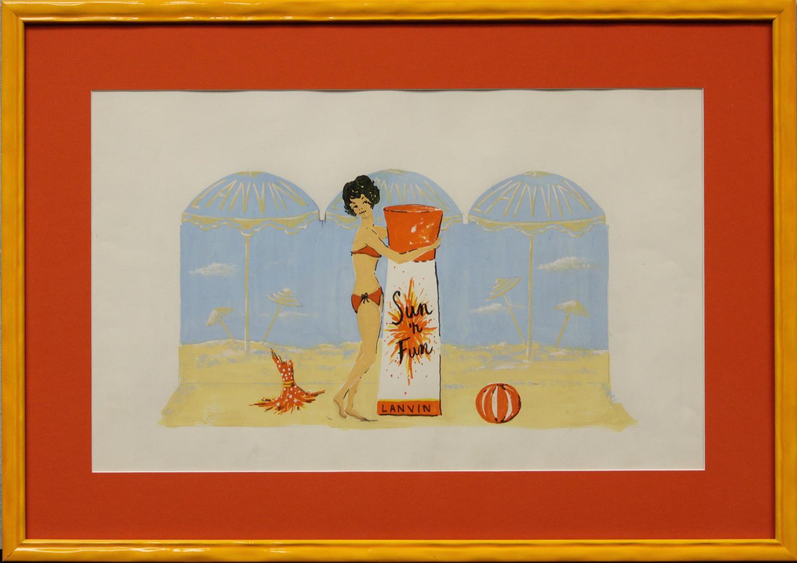 "Original Lanvin Paris Advert Artwork ""Fun 'n Sun"" by Alexander Warren Montel"