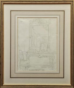 Cecil Beaton Original Pencil Sketch of 'Table and Mirror' in Reddish House