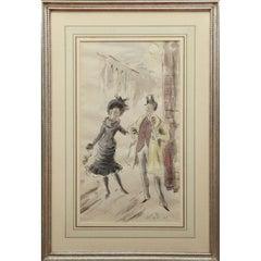 Cecil Beaton c1958 Watercolour of Maurice Chevalier & Leslie Caron in Gigi