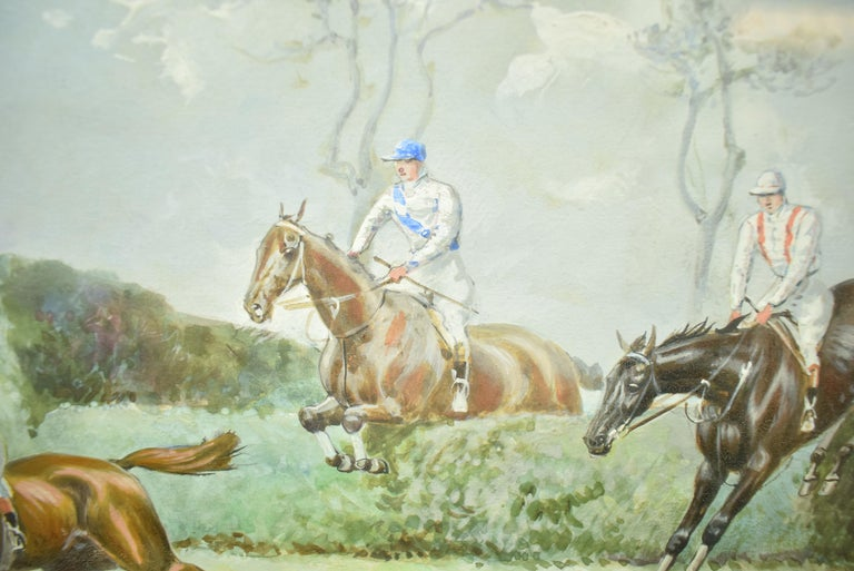 Classic steeplechase gouache by John Beer (1883-1915) signed (LL) of 'The Grand Military Gold Cup, Sandown Park 1905 Image Sz: 9-3/4H x 13-1/2