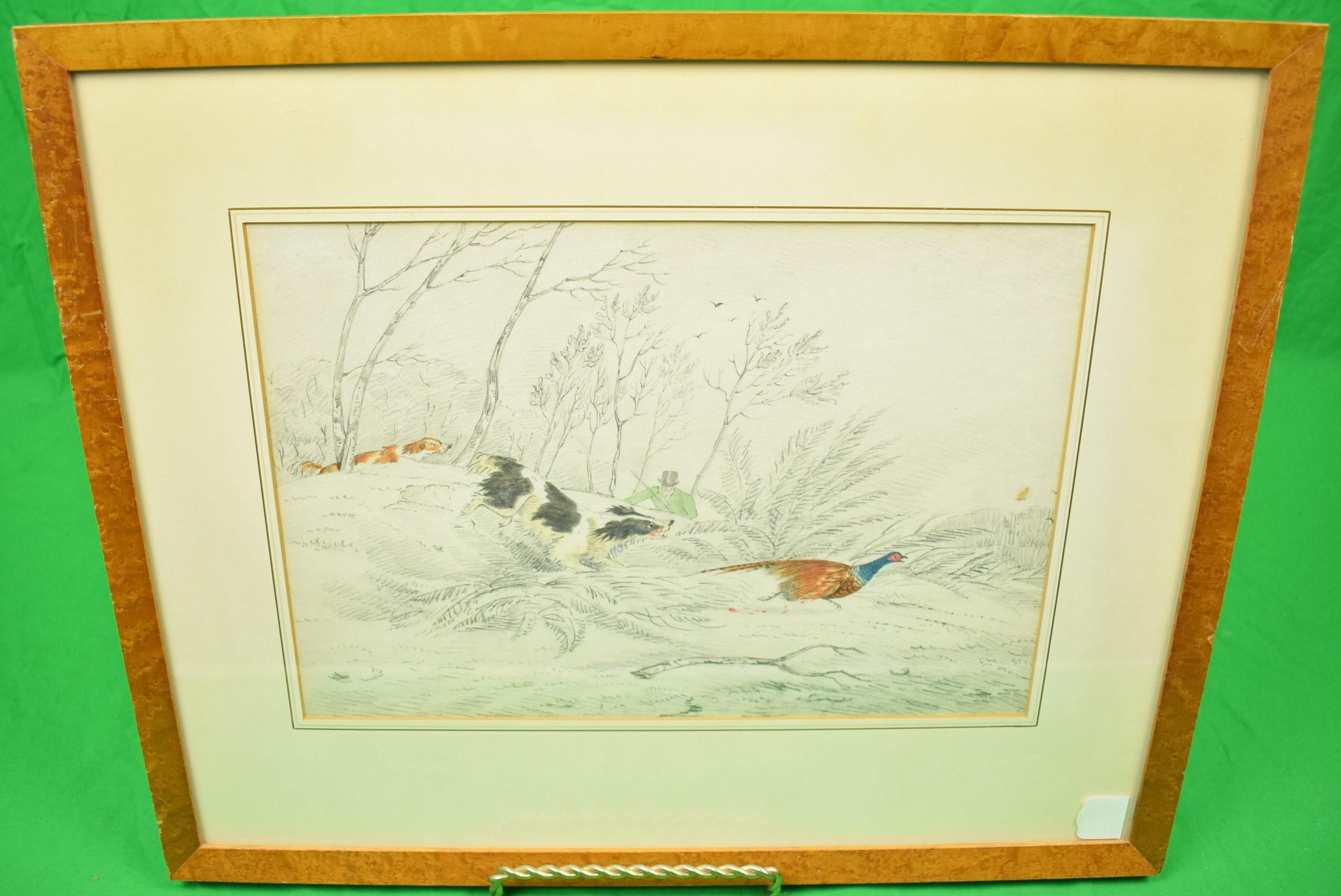 """Huntsman w/ Two Game Dogs Pheasant Shooting"" Drawing w/ Watercolour"