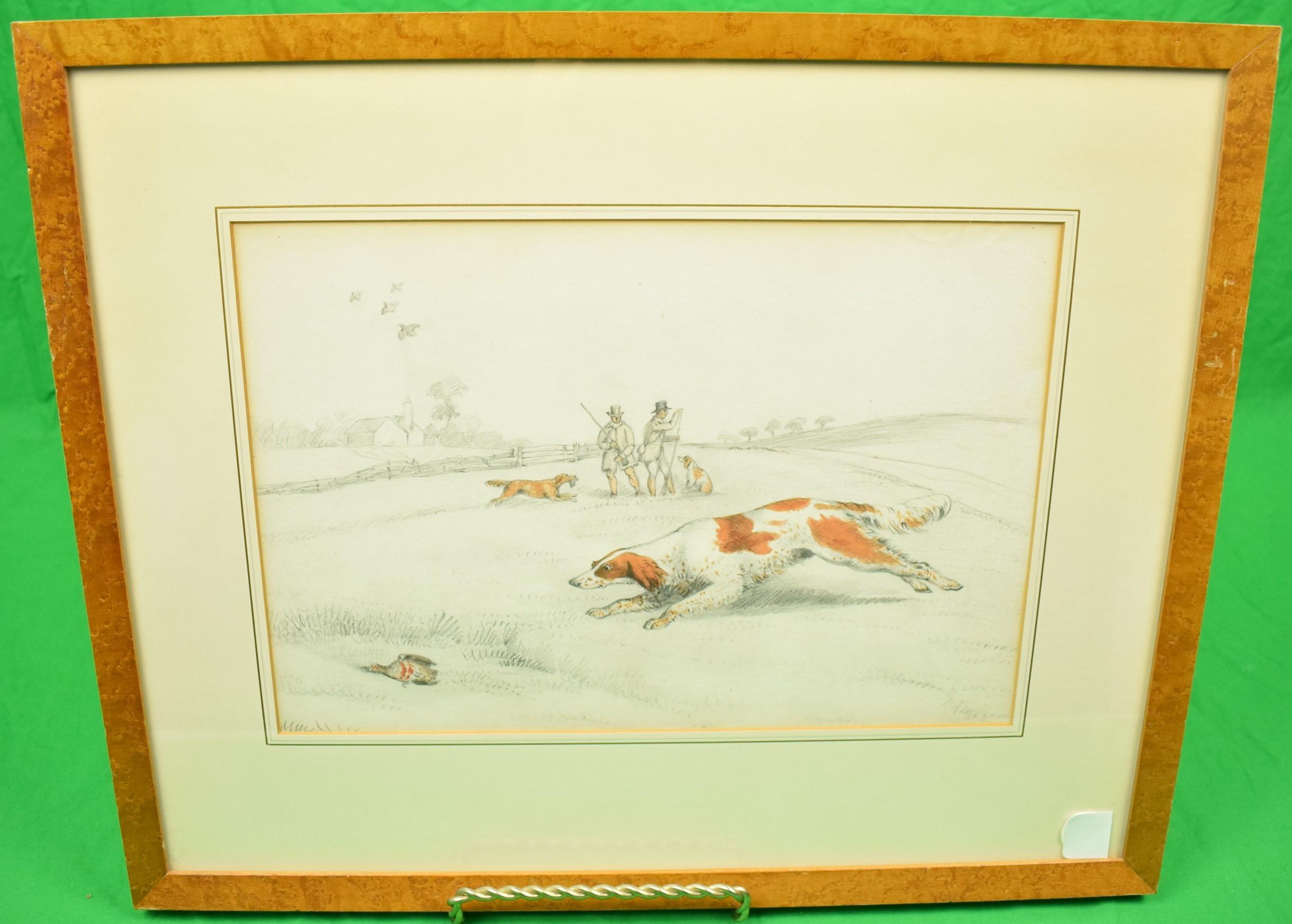 """Two Huntsmen Quail Shooting in a Field"" Drawing by Henry Alken"