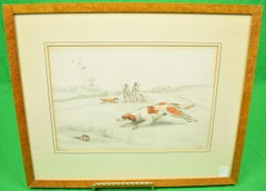 """Two Huntsmen Quail Shooting in a Field"" Drawing by Henry Alken"