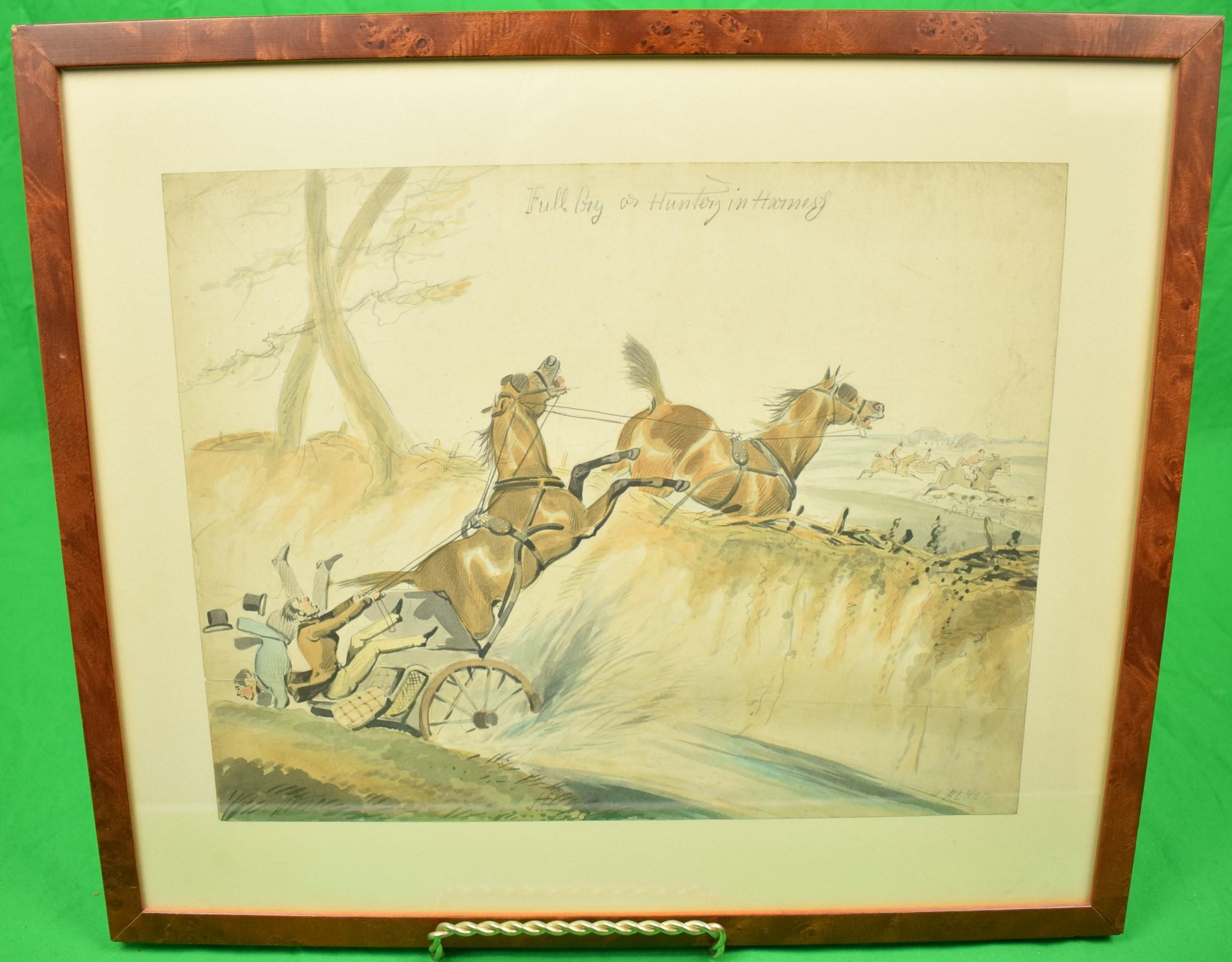 """""""Full Cry or Hunter's and Harness"""" Watercolour by Henry Alken"""