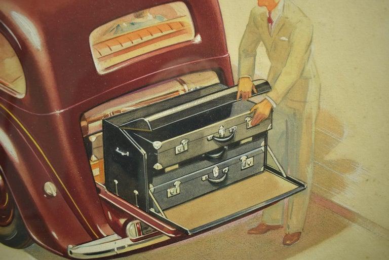English Armstrong Siddeley Motorcar Advert Illustration c1936 Artwork - Black Figurative Art by Unknown