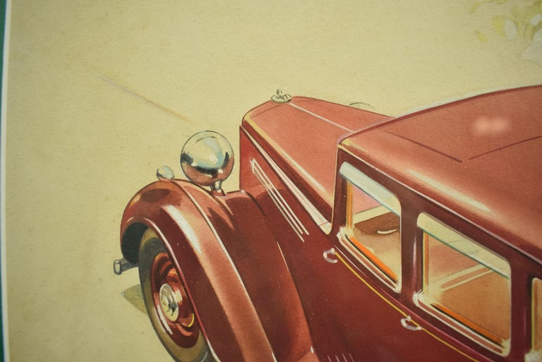 Classic English motorcar with bespoke luggage in the boot watercolour c1930s illustration in a burlwood frame!   Rare Watercolour of a Pre-War Armstrong Siddeley Motorcar  Original Advert Artwork  Image Sz: 11.5