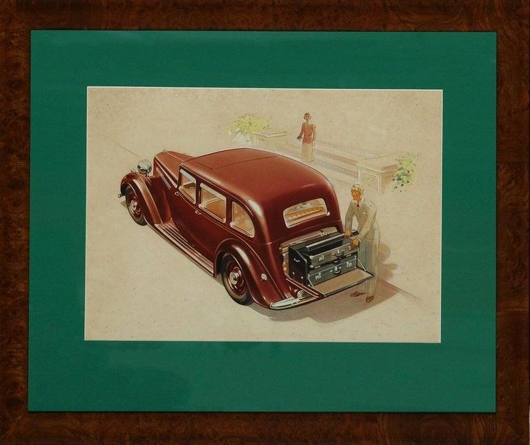 English Armstrong Siddeley Motorcar Advert Illustration c1936 Artwork For Sale 2