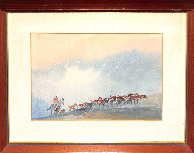 Brown Huntsman w/ Pack of Hounds c1937 Watercolour - Art by Paul Desmond Brown